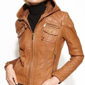 Michael Kors Hooded Quilt Stitch Leather Jacket
